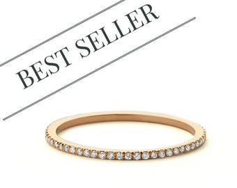 Diamond Eternity Wedding Band - Rose Gold Wedding Ring -  Micro Pave Diamond Eternity Band avail in 14k Rose Gold, mothers day gift