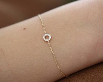 Rose Gold Diamond Bracelet/ 14k Solid Gold Pave White Diamond Round Disc Bracelet/ Dainty Friendship Bracelet/ Tiny Diamond Bracelet