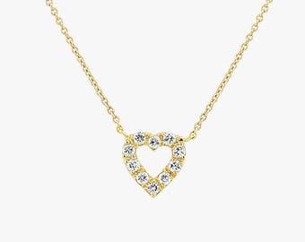8ecb729fc8c7 Tiny Diamond Heart Necklace / Mini Diamond Hear Pendant in 14k Gold / Diamond  Heart Necklace Micro Pave Setting .10ctw