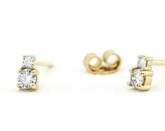 Diamond Earrings / Diamond Stud Earrings / 14k Double Diamond Solitaire Studs / Tiny Diamond Studs / Birthday Gift / Anniversary Gift