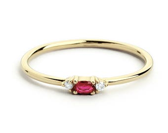 b764ca2809522e 14K Gold Oval Cut Ruby with Surrounding Round Cut Diamonds / Ruby  Graduation Gift / July Birthstone Ring