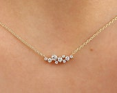 Cluster Necklace in 14k Gold / Diamond Cluster Necklace / Unique Diamond Layering Necklace / Diamond Necklace / Christmas Gift
