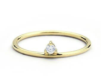 14k Gold Single Solitaire Diamond Ring / Stacking Solitaire Diamond Ring / Diamond Promise Ring / Gift for Her / Diamond Birthday Gift