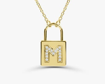 5b80770d3ec Padlock Diamond Necklace   14K Pave Diamond Initial Padlock Necklace    Personalized Necklace   Mothers Day Gift