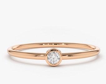 Rose Gold Diamond Ring/ 14k Rose Gold Single Diamond 0.05ctw Engagement Ring/ Simple Engagement Ring/ Promise Ring/ Dainty Diamond Ring