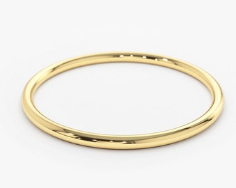 Gold Ring / 14K Solid Gold Round Wedding Band / 1.2 MM Yellow Gold Ring / Dainty Stacking Ring / Simple Delicate Ring / Thin wedding band