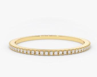 Diamond Eternity Ring/ Diamond Eternity Wedding Band/ 14k Gold Thin Diamond Wedding Band/ Micro Pave Thin Diamond Eternity Band in 14k Gold