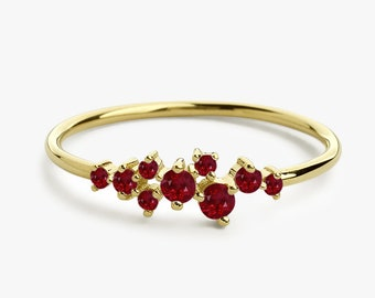 3ece172ee8e Dainty Ruby Ring   Ruby Cluster Ring 14k Gold Ruby Ring   Genuine Ruby Ring    Natural Ruby Jewelry   July Birthstone Ring