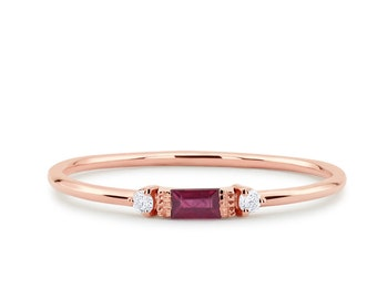 22b970039ea6e4 Ruby Ring / Baguette Ruby Ring / 14k Rose Gold Minimalist Ruby Ring /  Stacking Three-Stone Round Diamond Ruby Ring / Promise Ring