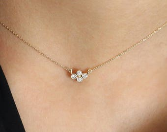 14k Gold Layering Diamond Necklace/ Solid Gold Diamond Necklace/ 14k Small Horizontal Quad Diamond Necklace/ Mothers Day Gift