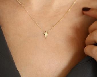 Starburst Necklace Gold/ Starburst Necklace/ 14K Gold North Star Pendant Necklace/ Minimalist Tiny Gold Starburst Necklace/ Graduation Gift