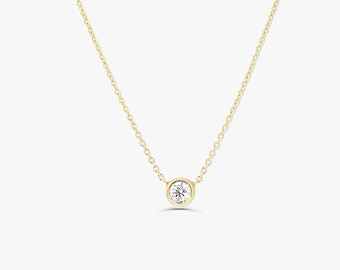 Diamond Solitaire Necklace/14k Gold 0.07 Ct. Dainty Diamond Bezel Set Necklace/ Delicate Diamond Necklace/ Layering Diamond Necklace