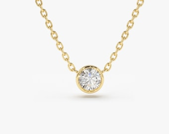 Diamond Solitaire Necklace/ 14k Gold 0.08 Ct. Dainty Diamond Bezel Set Necklace / Delicate Diamond Necklace / Layering Diamond Necklace
