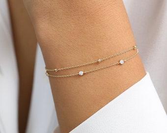 d5bc1e7f5cc Solid Gold Bracelet / 14k Gold Beads Chain Bracelet / Gold Beads Bracelet /  Layering Bracelet / Minimalist Bracelet / Thin Gold Chain