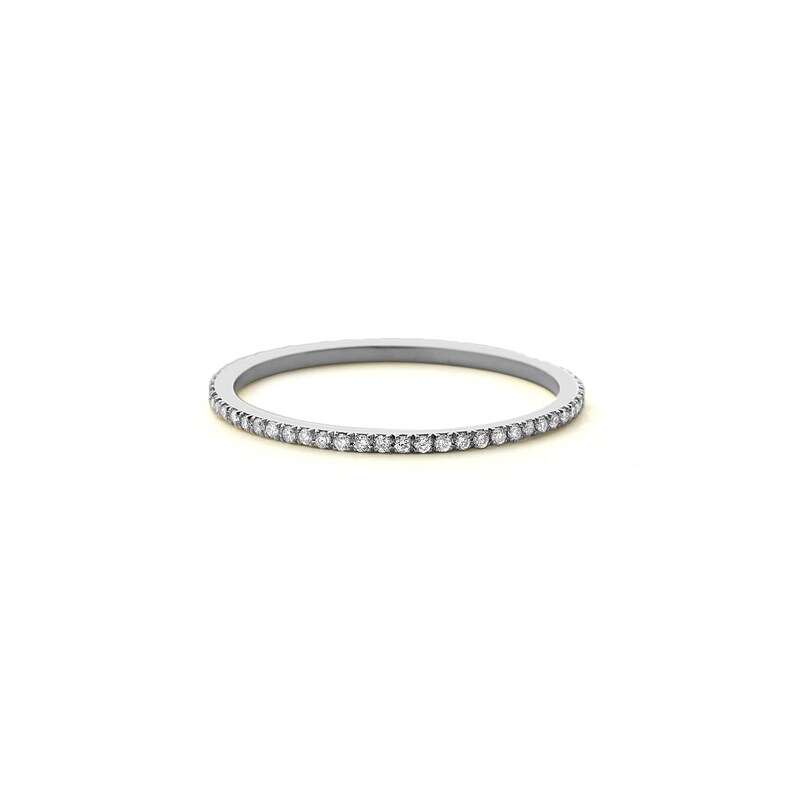 0fe732f056d Micro Pave Diamond Eternity Band in 14k White Gold  1.0MM
