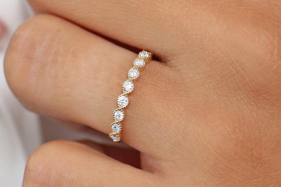 14k solide or Jaune Diamant Éternité Band empilable anneau infini Mariage Bande