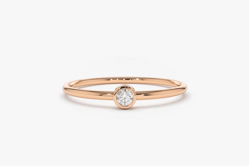 Rose Gold Diamond Ring/ 14k Rose Gold Single Diamond 0.05ctw image 0