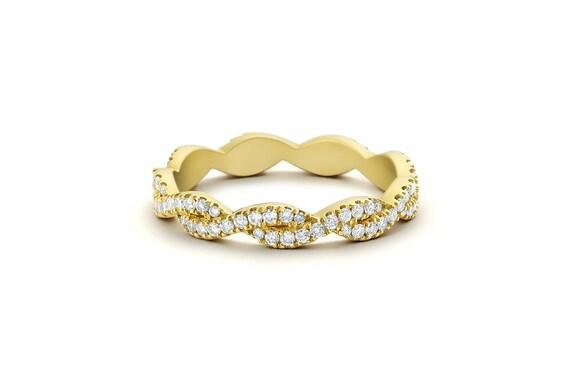14k Gold Infinity Diamond Eternity Wedding Band Criss Cross Etsy