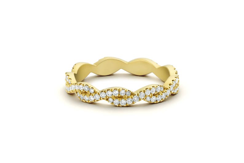49d94cb7343 14k Gold Infinity Diamond Eternity Wedding Band  Criss Cross