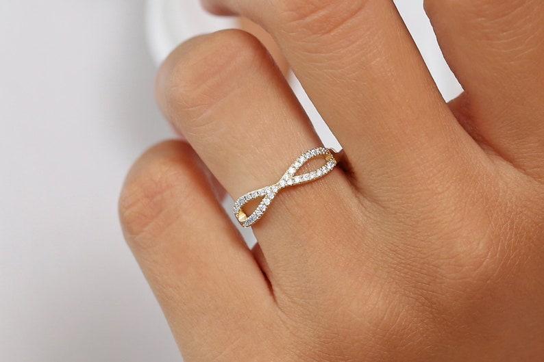 fb68765708b06 Infinity Wedding Band Women in 14k Solid Gold / Diamond Half Eternity Band  / Rose Gold Stacking Dainty Ring / Criss Cross Diamond Ring