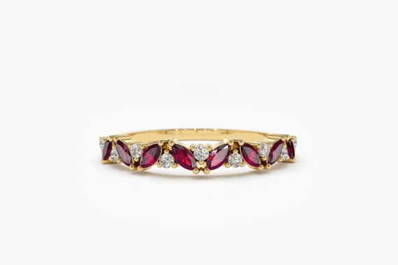 Marquise Ruby & Diamond Ring / Ruby And Marquise Diamond Wedding Ring In 14 K Solid Gold / Alternating Ruby Marquise Gemstone Ring by Etsy