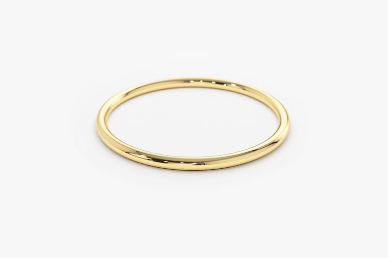 Gold Ring / 14K Solid Gold Round Wedding Band / 1.2 MM Yellow image 0