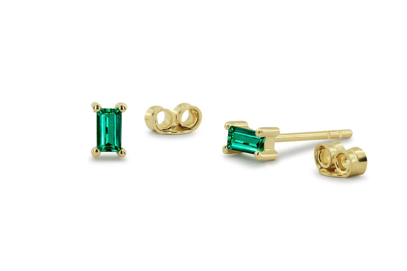 b4ed481dc Emerald Stud Earrings Baguette Cut Genuine Emerald Stud | Etsy
