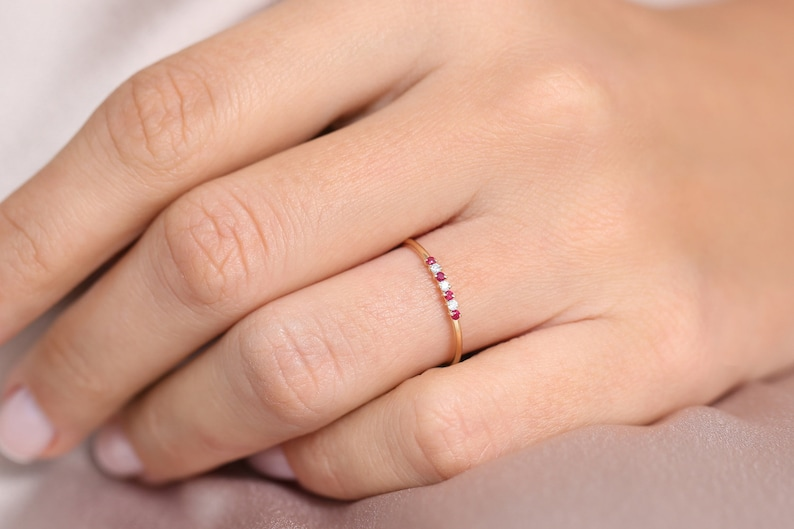 Ruby and Diamond Wedding Band in 14k Gold  Stackable Genuine Ruby Ring  July Birthstone  Rose Gold and White Gold
