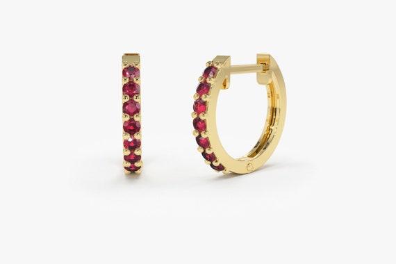 Natural Ruby Earrings / Huggie Earrings / 14k Gold 10 Mm Ruby Huggie Hoop Earrings / July Birthstone Christmas Gift For Her by Etsy