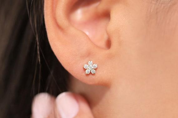 Pair of 14K Yellow Gold Flower Design Pierced Earrings