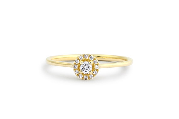 Diamond Ring 14k Halo Diamond Ring Minimal Diamond Ring Etsy