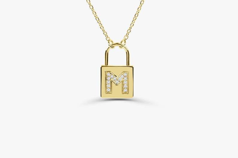 Padlock Diamond Necklace /  14K Pave Diamond Initial Padlock image 0