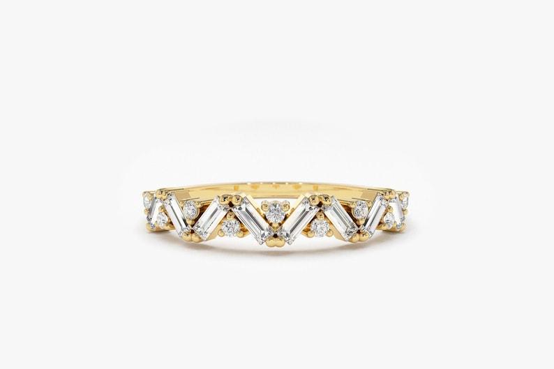 Baguette Diamond Ring / Baguette Diamond Wedding Ring in 14K 14k Gold