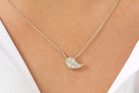 Stylish Leaf Design Model 14K Solid Gold  Necklace