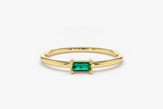Emerald Ring / Baguette Cut Emerald Ring In 14k Gold / Stackable Emerald Baguette Ring / May Birthstone Ring / Black Friday Sale by Etsy