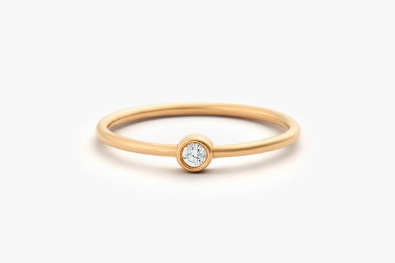 Rose Gold Diamond Ring  14k Rose Gold Single Diamond 0.05ctw  1d74f43c8c7c