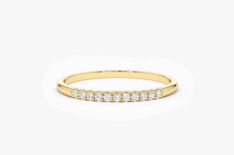 bef3de4252d Yellow Gold Diamond Wedding Band Thin Diamond Wedding Ring