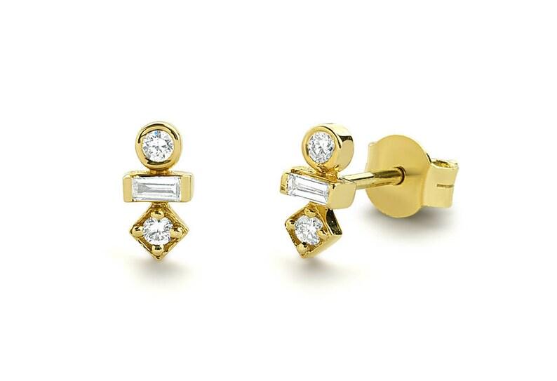 fb2b32a0c Baguette Diamond Earrings/ 14k Gold Baguette and Round Cut | Etsy