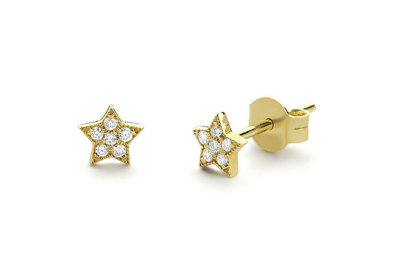 23c11552d Tiny Star Earrings/ Diamond Star Earrings in 14k Solid Gold/ | Etsy
