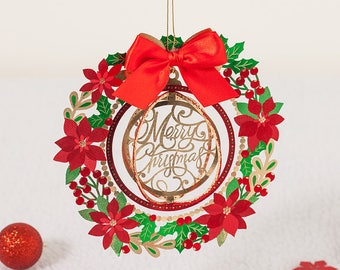 Red Laser Cut Christmas Card// Papercut Christmas wreath // Tree Decoration