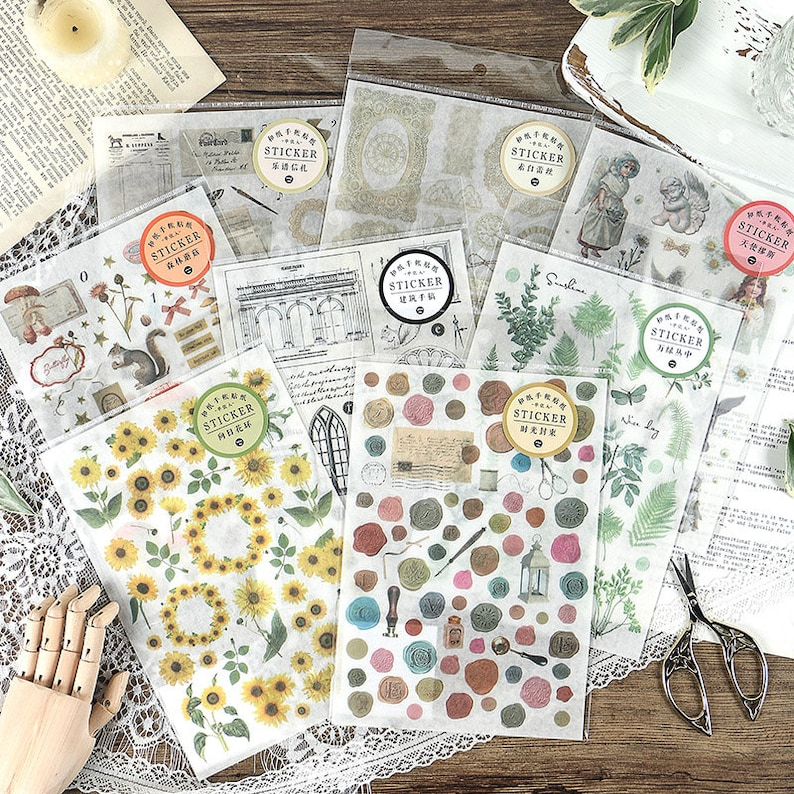 Washi Sticker Sheet // Vintage // Sunflowers // Green Plants image 0