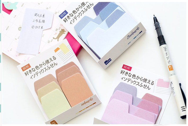 Japanese Stationery Kawaii Cute Planner Bookmarks Gradient Index Sticky Notes