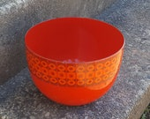 Finel Finland red enamel Bowl design by Kaj Franck - Daisy pattern bowl