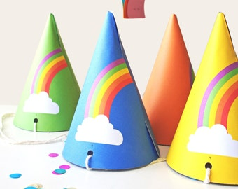 Rainbow Party Hats INSTANT DOWNLOAD PRINTABLE Colorful Kids Weather Theme Birthday Or Decorations Baby Hat