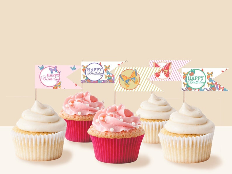 photograph relating to Printable Cake Toppers named Butterfly Celebration Cake Toppers, Immediate Obtain PRINTABLE Children Women of all ages Butterfly Tea Birthday Bash Cake Cupcake Toppers with editable words