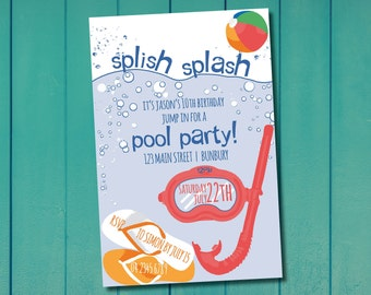 Pool Party Invitation, Customised Printable Invitation, Beach Party Invitation, Kids Party Invitation, Pool, Birthday Party, Invite