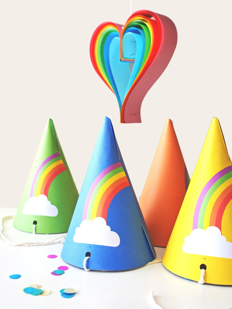 49f055a9ea3 Rainbow Party Hats INSTANT DOWNLOAD PRINTABLE Colorful Kids