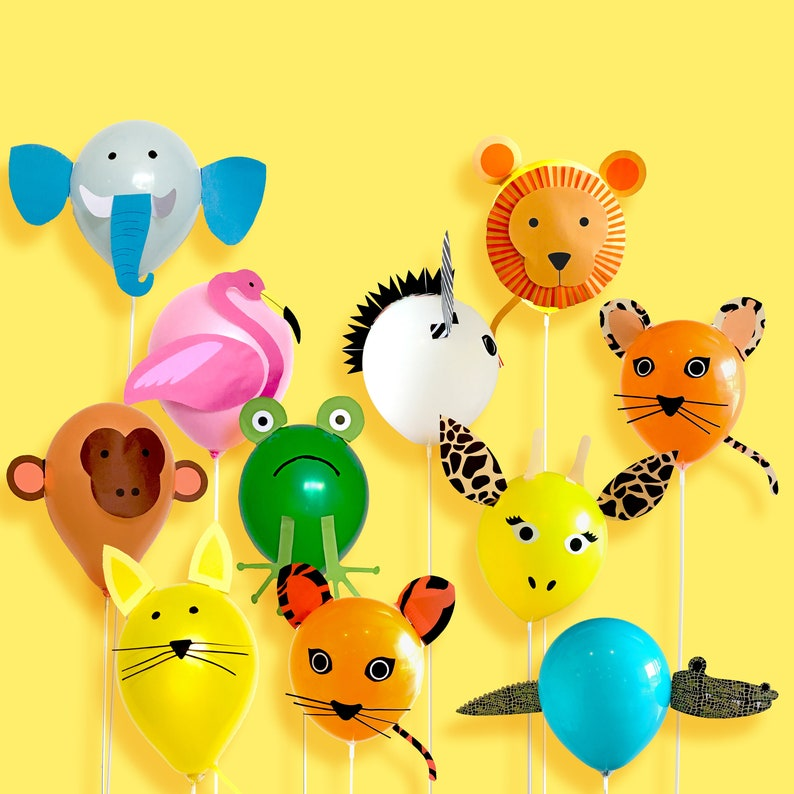 Animal Party Balloon Decorations Instant Download Printable Etsy