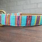 Turqouise Dog Collar - Handwoven Dog Collar - Cool Dog Collar - Geometric Dog Collar - Striped Collar - Fun Dog Collar Guatemalan Fabric