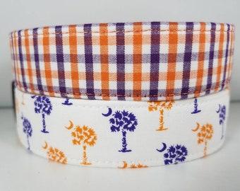Clemson Tigers Gingham Dog Collar - Orange Dog Collar - Purple Dog Collar - Plaid Dog Collar - Gingham Dog Collar - Clemson Dog Collar -